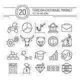Forex Line Icons. 20 financial icons collection in modern flat style. Easy editable elements for your web site interface. Perfect line icons set for forex broker Royalty Free Stock Images