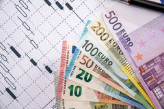 Forex market black candlesticks with euro bills and calculator Royalty Free Stock Images
