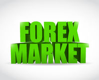 Forex market 3d text sign illustration design Stock Photos