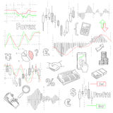 Forex market hand drawn vector background with Royalty Free Stock Images