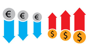 Forex market and stock exchange conceot with euro and dollar symbols. Forex market and stock exchange conceot with euro and dollar symbols and red and blue Stock Image
