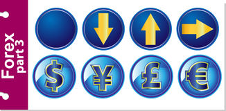 Forex part 3. Forex Vector icons on a blue background in a circle. Part 3 Stock Photos