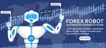 Forex robot concept with AI android. And financial diagram. Automated trading system, computer brokerage, capital management and investment illustration Stock Image