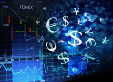 Forex screen. With currency symbols royalty free stock image