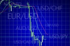 Forex stock market candle graph analysis on the screen Stock Images