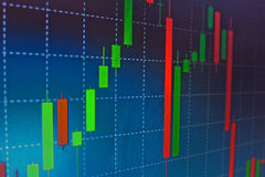 Forex stock market. Candle graph analysis on the screen stock image