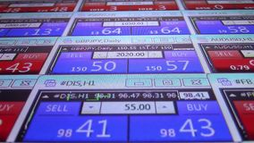 Forex stock market quotes ticker board close up- new quality financial business data screen dynamic technology motion stock footage