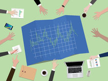 Forex tader graph chart concept illustration with hand team work together on top of the table. Vector Royalty Free Stock Image