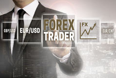 Forex trader with city background concept Stock Photo