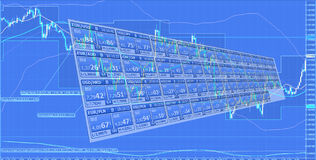 Forex trading. With the blue chart Stock Photo
