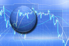 Forex trading. Business background in blue Stock Photos