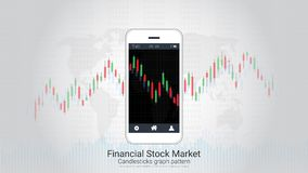 Forex trading candlestick chart on mobile screen. Stock Photo