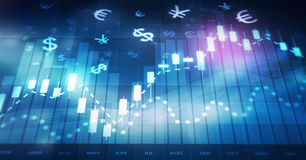 Forex trading chart Royalty Free Stock Photo