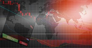 Forex trading / forex charts graph board data on world map background BUY and SELL options stock illustration
