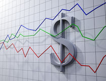 Forex trading concept. Illustration- dollar rating chart Stock Photos