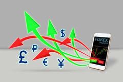 Forex trading concept. arrow buy and sell out of mobile phone. Forex trading concept. arrow buy and sell out of mobile phone Royalty Free Stock Photography