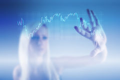 Forex trading concept with business woman. Forex trading background concept in blue Stock Photo