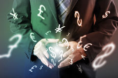 Forex trading concept. With hands of businessman Royalty Free Stock Image