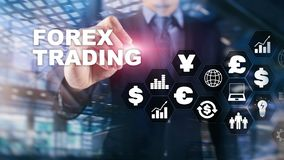 Forex trading currency exchange business finance diagrams dollar euro icons on blurred background. Forex trading currency exchange business finance diagrams stock photo