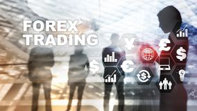 Forex trading currency exchange business finance diagrams dollar euro icons on blurred background. stock illustration