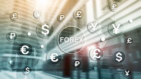Forex trading currency exchange business finance diagrams dollar euro icons on blurred background royalty free stock photography