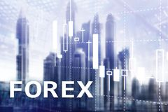 Forex trading, financial candle chart and graphs on blurred business center background.  stock image