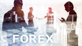 Forex trading, financial candle chart and graphs on blurred business center background. Man and woman, silhouettes. royalty free stock photography