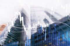 Forex trading, Financial market, Investment concept on business center background. stock photography