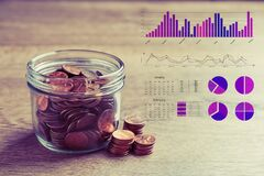 Free Forex Trading. Glass Jar With Coins And Charts On Background Royalty Free Stock Images - 187729759
