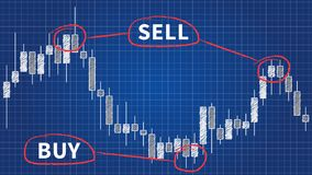 Forex trading graph blue print concept. Candlestick chart in financial forex market vector illustration. Forex trading graph with japanese candle bars blue print Royalty Free Stock Image