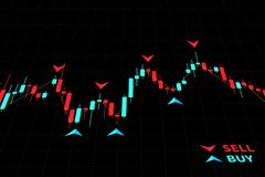 Forex Trading Indicators vector illustration on black background. Online trading signals to buy and sell currency on the forex chart concept. Buy and sell Stock Photo