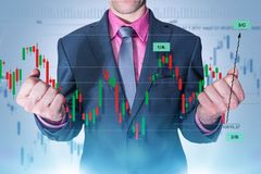 Forex Trading Master. Trading Master. Successful Currency Trading Businessman Concept. Elegant Businessman and Forex Trading Line Graphs and Statistics. Success stock photography