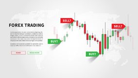 Forex trading promo page vector illustration. Web banner template for trading companies graphic design. Financial chart with signals to buy and sell for stock Royalty Free Stock Photography