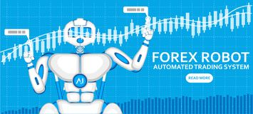Forex trading robot with AI android. Forex trading robot with AI and financial diagram. Automated trading system, computer brokerage, capital management and Royalty Free Stock Photo