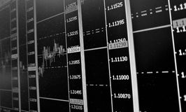 Forex trading screen with charts and graphs in black and white Royalty Free Stock Photos