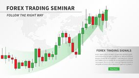 Forex trading seminar with candlestick chart vector illustration. Financial market candlestick graph with green arrow graphic design. Financial education for Stock Photography