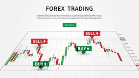 Forex Trading Signals vector illustration. Buy and sell indicators for forex trade on the candlestick chart graphic design Royalty Free Stock Image