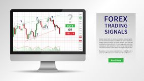 Forex Trading Signals vector illustration. Investment strategies and online trading signals on desktop computer concept. Buy and sell indicators on the Stock Photo