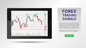 Forex Trading Signals vector illustration. Investment strategies and online trading signals on mobile device concept. Buy and sell indicators for forex trade Royalty Free Stock Photos