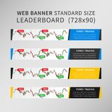 Forex Trading vector web banner set. Online trading signals to buy and sell currency advertising concept. Stock market trade on the candlestick chart standard Royalty Free Stock Photography