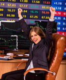 Forex trading woman in business office with chart and pc monitor.