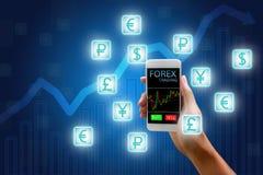 Forexbegrepp, aktiemarknad, smart telefon för kvinnainnehav och curre Arkivfoto
