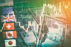 Forexen marknadsför begrepp för valutahandel Arkivfoton