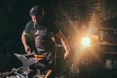 Forge, blacksmith`s work, hot metal. Forge, blacksmith`s work with metal, hot metal royalty free stock photo
