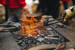 Forge, brazier with very hot coals, close-up royalty free stock images