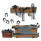 Forge, fers à cheval et outils de poste de travail Photo libre de droits
