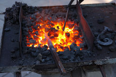 Forge, fiery coals Royalty Free Stock Images