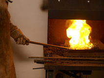 Forge Fire. Blacksmith at a forge fire Stock Images