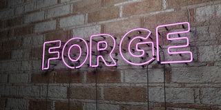 FORGE - Glowing Neon Sign on stonework wall - 3D rendered royalty free stock illustration. Can be used for online banner ads and direct mailers Stock Photo