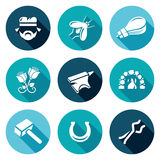 Forge Icons Set. Vector Illustration. Flat Icons collection on a color background for design Royalty Free Stock Image